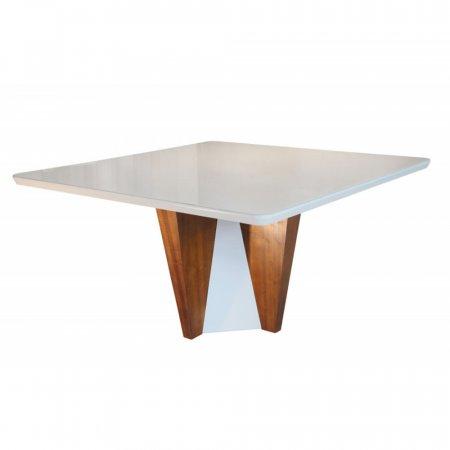 Mesa de Jantar Belíssima 150x150 cm Imbuia com Off White 10427219