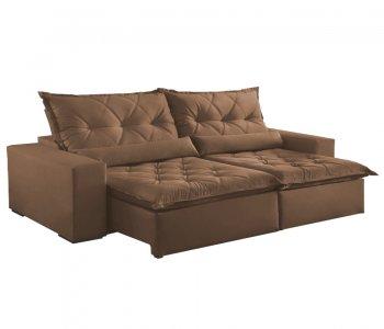 Sofá Retrátil com Encosto Reclinável Ouro Branco 290 cm Tecido Veludo Marrom Claro 10595068