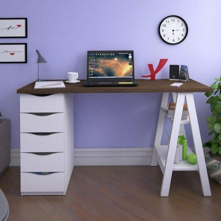 Mesa para Computador 135 cm Nogal com Branco 10583009