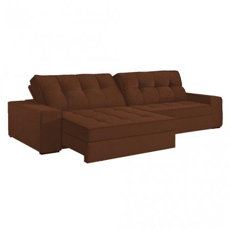 Sofá VIP Denver Retrátil e Reclinável 290 cm com Molas Ensacadas Tecido 124 Caramelo Cobre