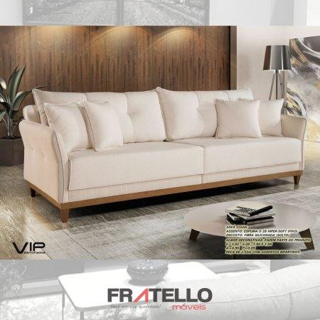SOFÁ VIP CLEAN FIXO 2,28M TECIDO LINHO BEGE CLARO