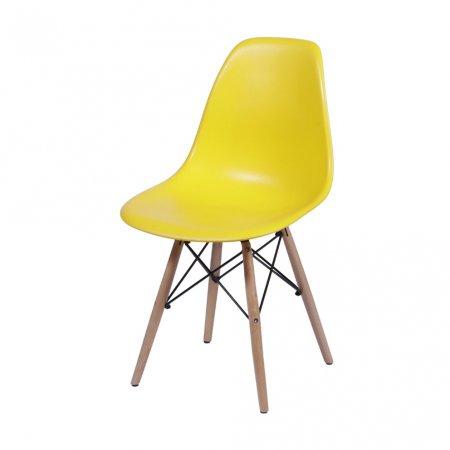 Cadeira DKR Amarela com Base de Madeira 10580023