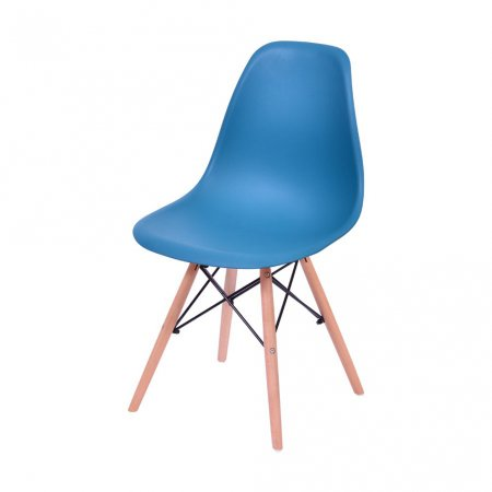 Cadeira DKR Azul Petróleo com Base de Madeira 10580012