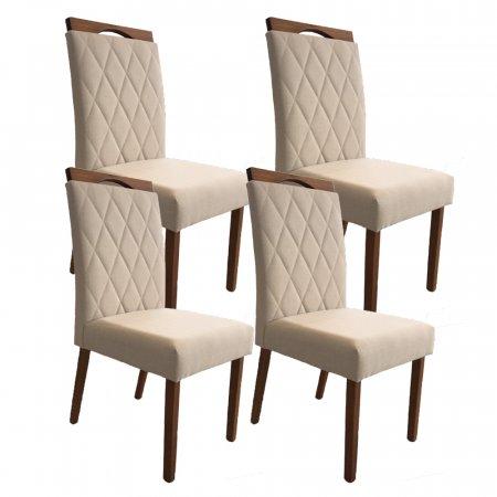 Conjunto 4 Cadeiras Milão Estofadas Tecido Linho Bege Claro 10568182