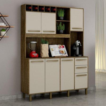 Kit de Cozinha 146,5 cm Valdemóveis Granada Ipê com Off White 10561046