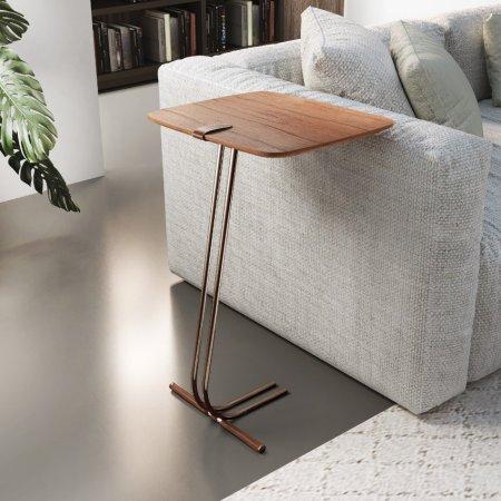 Mesa de Apoio para Sofá 41 cm Cinamomo Detalhe couro Base Café 70044001