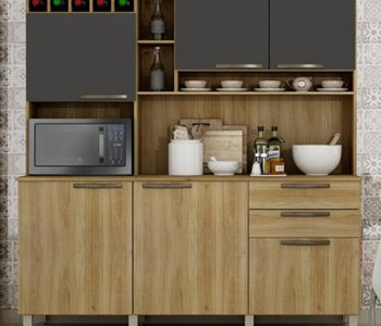 Kit de Cozinha Topázio 165 cm Carvalho com Grafite 10597055