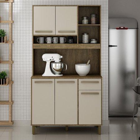 Armário Kit de Cozinha Ametista 110 cm Ipê com Off White 10561037