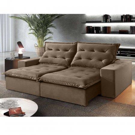 Sofá Retrátil 230 cm com encosto Reclinável Tecido Marrom 25003003