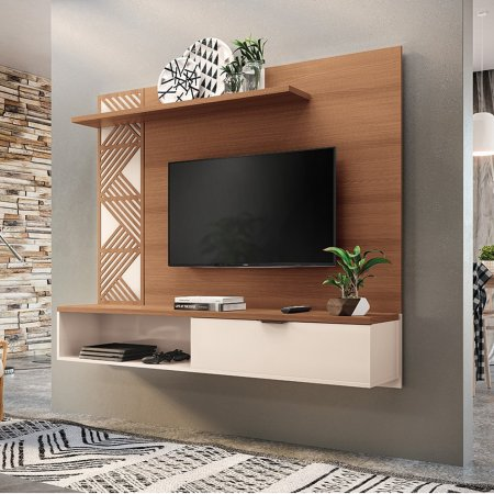 Painel Suspenso para TV 160 cm Nature com Off White 10346318