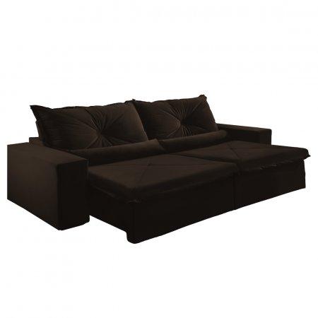 Sofá Retrátil com Encosto Reclinável Trento 290 cm Tecido Veludo Jolie Marrom Escuro 10595037