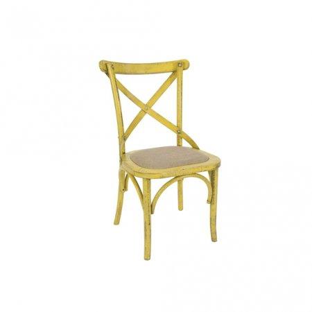 Cadeira Renan Móveis Paris Amarelo e Assento Ráfia 10590003