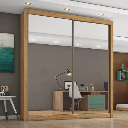 Guarda Roupa com 2 Portas de Correr e 2 Espelhos 170 cm Amêndoa com Interior Off White 10256091