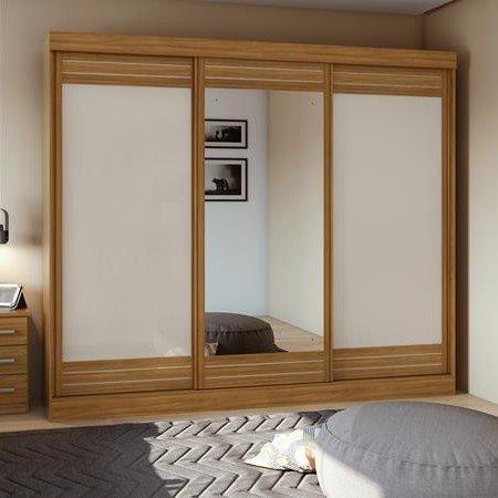 Guarda Roupa com 3 Portas de Correr e 1 Espelho 270 cm Rovere Naturale com Off White 10365571