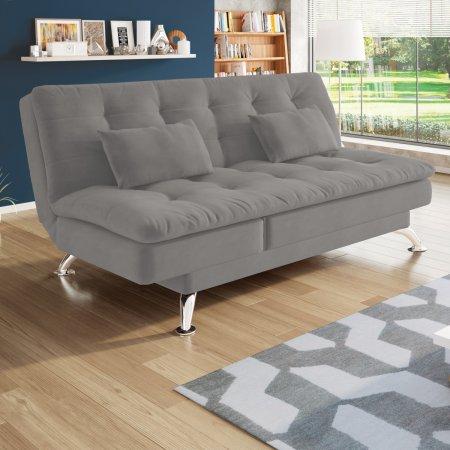 Sofa cama Rayssa com Chaise 188 cm Tecido Suede Cinza 10175470