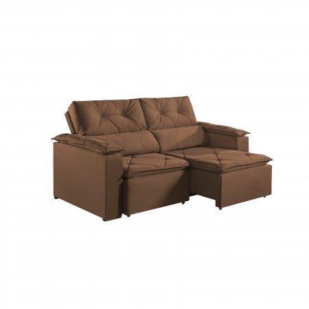 Sofá Retrátil com Encosto Reclinável Porto 220 cm Pillow Tecido Veludo Caramelo 25002062