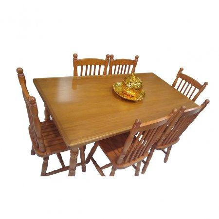 Mesa de Jantar Tirolesa 160x90 cm e 6 Cadeiras Cor Mel 10387010