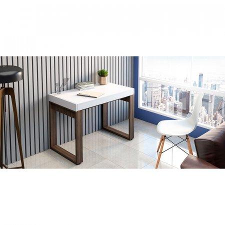 Mesa para Computador Escrivaninha 105 cm Branco com Nogal 10583001