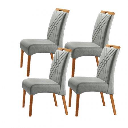 Conjunto 4 Cadeiras Jade Estofadas Tecido Veludo Prata 10568180