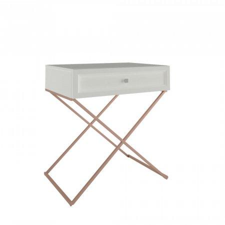 Mesa de Cabeceira 70 cm Off White com Cobre 10579112
