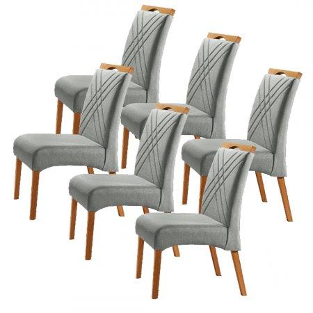 Conjunto 6 Cadeiras Jade Estofadas Tecido Veludo Prata 10568164