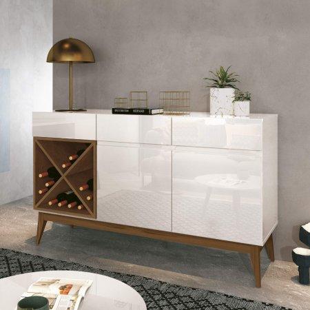 Buffet Balcão com Adega 140 cm Off White com Naturale 10180219