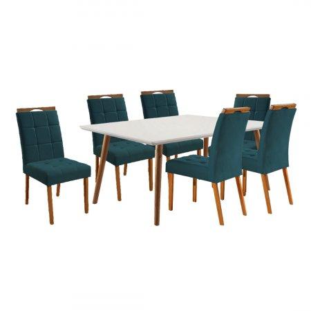 Mesa de Jantar Eld Mel com Off White 160x90 cm e 6 Cadeiras Tecido 16B Linho Azul com Mel 10568002