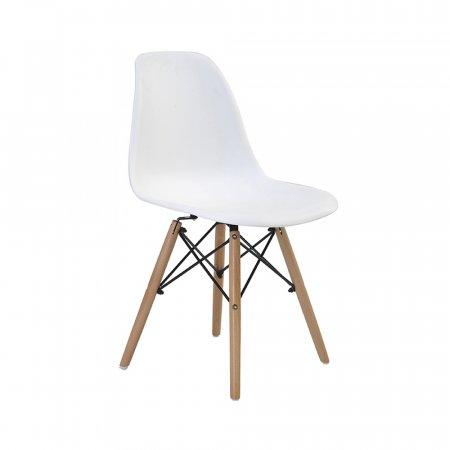 Cadeira Rivatti Eiffel Branca com Base de Madeira 10394137