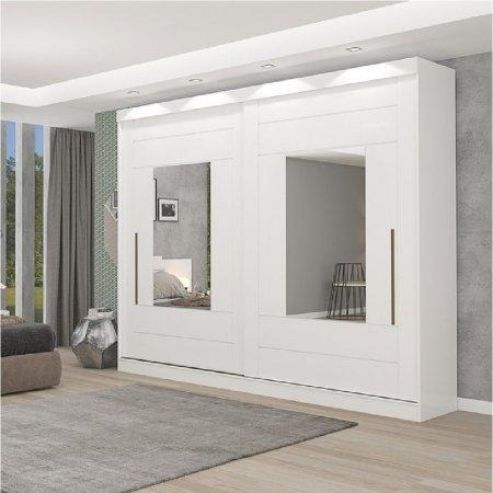 Guarda Roupa Maria 264 cm 2 portas Espelhadas Branco 10176060