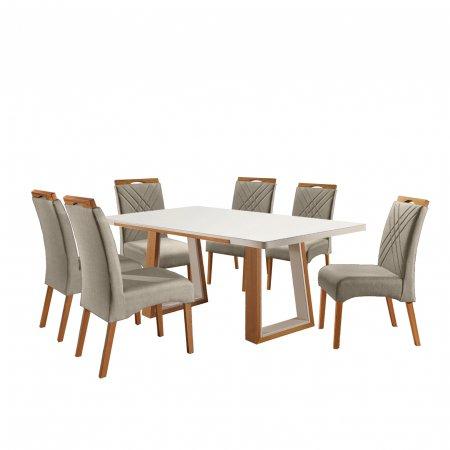 Mesa Ello Decor Veneza Mel com Off White 180x100 cm e 6 Cadeiras Tecido Linho 02B Bege com Mel 10568115
