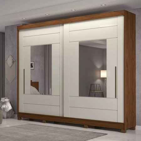 Guarda Roupa com 2 Portas de Correr e 2 Espelhos 264 cm Avelã com Off White 10176074