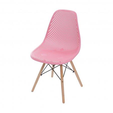 Cadeira Colméia Rosa com Base Eiffel de Madeira