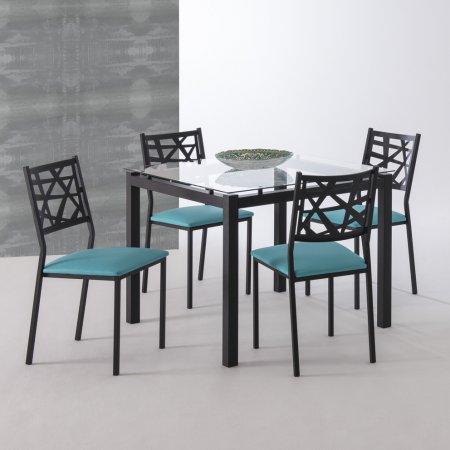 Mesa de Jantar Preta com Tampo de Vidro 95x95 cm e 4 Cadeiras Eliza Preta com Assento Veludo Verde 10608007-005