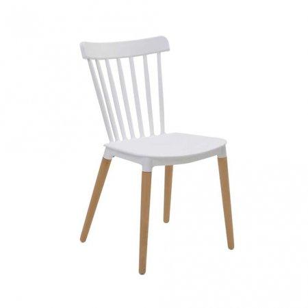 Cadeira Rivatti Janaina Branca com Base de Madeira 10394140