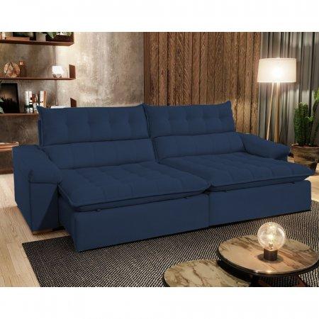 Sofá Retrátil com Encosto Reclinável Londres 300 cm Molas Ensacadas Tecido Veludo Azul Marinho 10545384