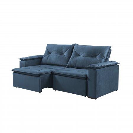 Sofá Retrátil com Encosto Reclinável Macau 220 cm Pillow Tecido Veludo Azul 25002065