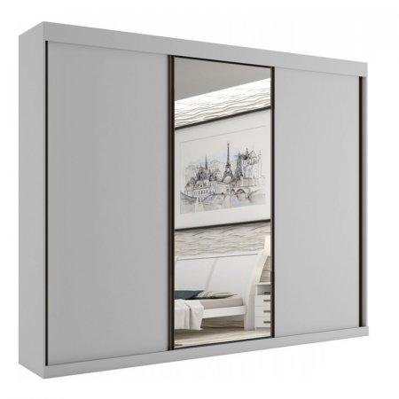 Guarda Roupa de Casal Toronto 240 cm Rovere 3 Portas de Correr com 1 Espelho Branco 10589068