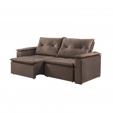 Sofá Retrátil com Encosto Reclinável Macau 220 cm Pillow Tecido Veludo Marrom 25002064