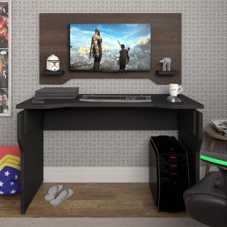 Mesa para Computador Escrivaninha 120 cm Preta com Painel Terrano 10583013