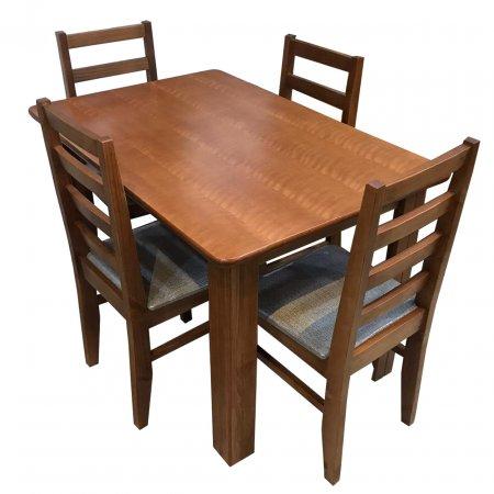Mesa NR Atlanta 120x80 cm com 4 Cadeiras Estofadas Castanho 10159008