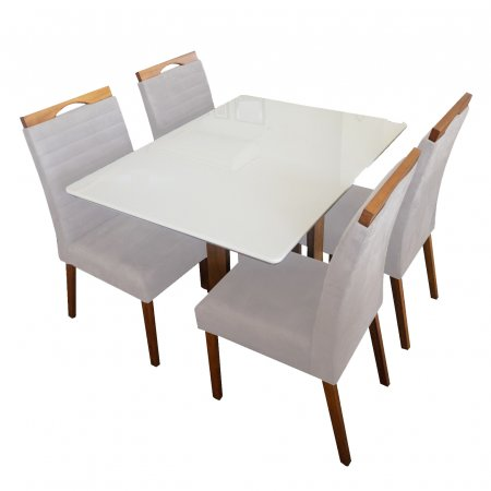 Mesa Ello Decor Acácia Mel com Off White 120x90 cm com 4 Cadeiras Mel Tecido 61C Bege Claro com Mel 10568010