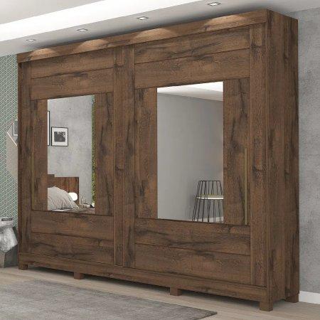 Guarda Roupa com 2 Portas de Correr e 2 Espelhos 264 cm Café 10176067