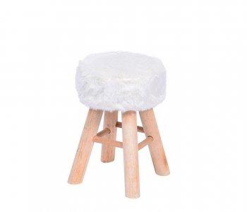 Banqueta Puff de Pelo sintético Branca com base de Madeira 10580002