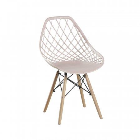 Cadeira Cloe Nude com Base Torre de Madeira 10394120