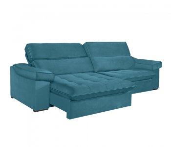 Sofá Retrátil com Encosto Reclinável Rubi 246 cm Molas Ensacadas Tecido Suede 114 Azul Turquesa 10249249