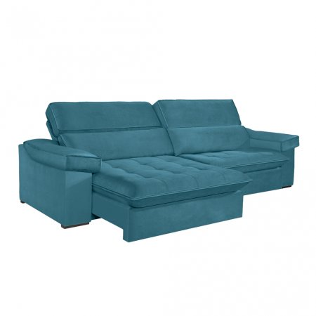 Sofá VIP Rubi Retrátil e Reclinável 246 cm com Molas Ensacadas Tecido Veludo 114 Azul Turquesa 10249249