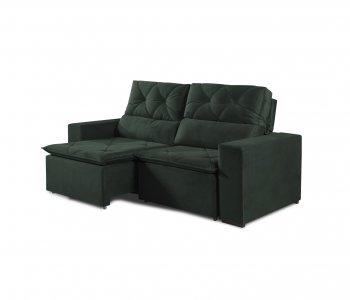 Sofá Retrátil com Encosto Reclinável Oviedo 220 cm Mola Bonnel Tecido Veludo Verde Escuro 25002056