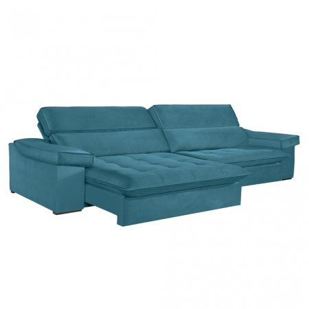 Sofá VIP Rubi Retrátil e Reclinável 286 cm com Molas Ensacadas Tecido Veludo 114 Azul Turquesa