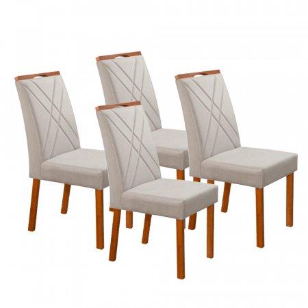 Conjunto 4 Cadeiras Bia Estofadas Tecido Linho Cinza Claro 10617001