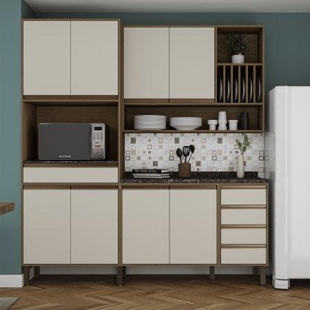 Cozinha Completa Vitoria 3 Peças 200 cm Carvalho com Off White 10523339